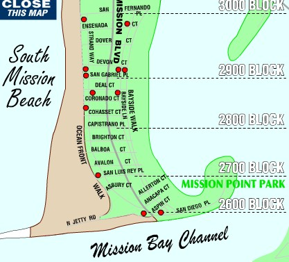 South Mission Beach Map